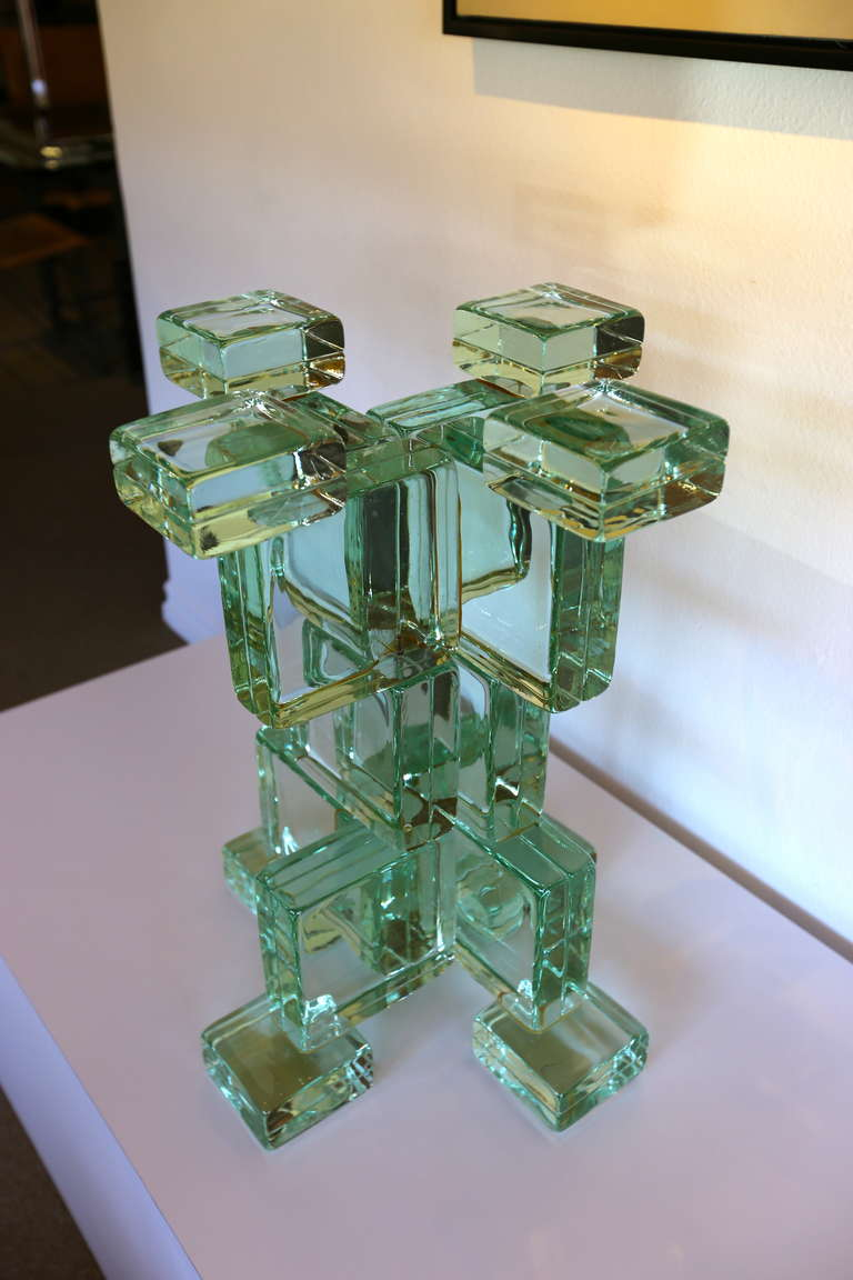 Italian Sculptural Glass Block Table Or Pedestal Base At 1stdibs