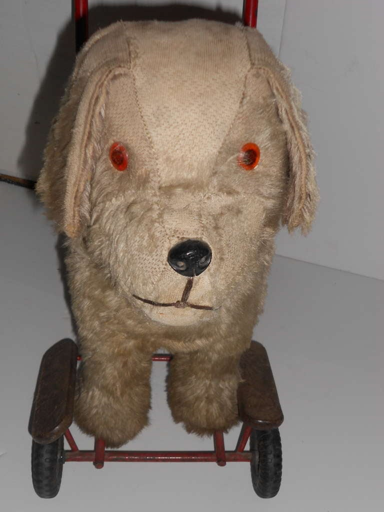 Antique Childs Toy Dog On Wheels At 1stdibs