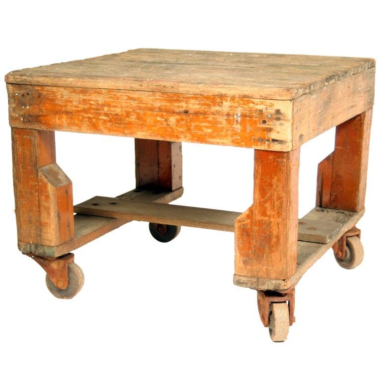Vintage Industrial Wood Platform On Steel Casters At 1stdibs
