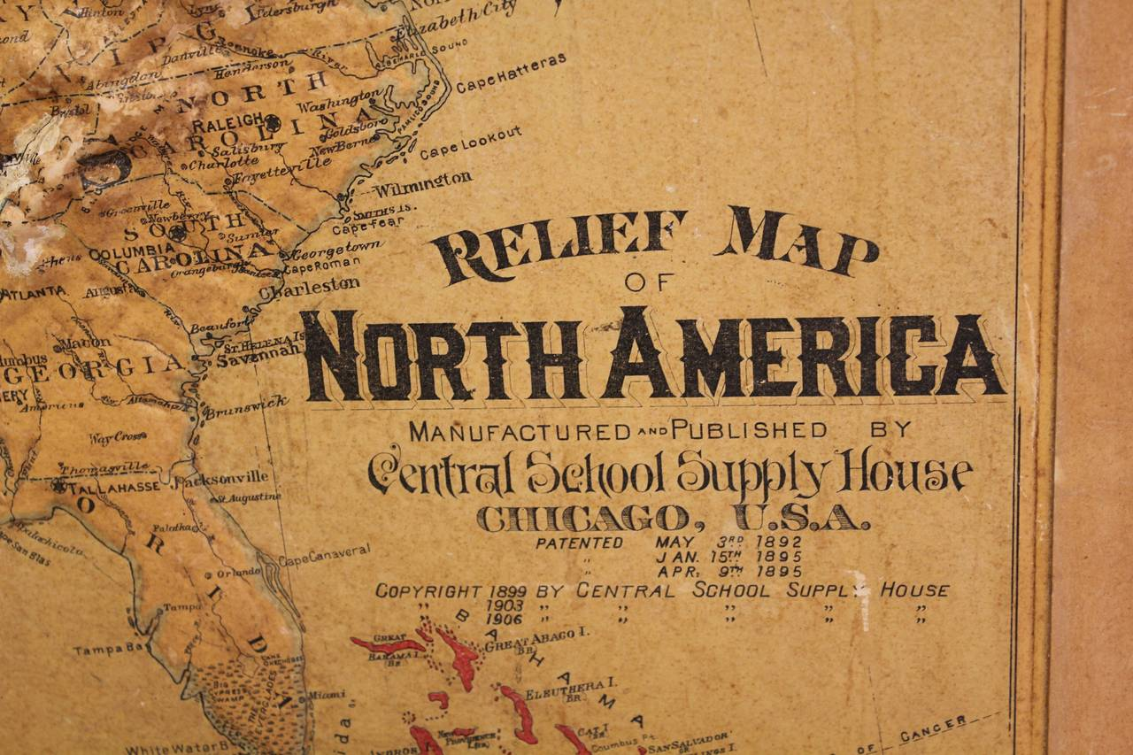 1900s Relief Map of North America at 1stdibs 1900s relief map of North America by Atlas School Supply Chicago Il