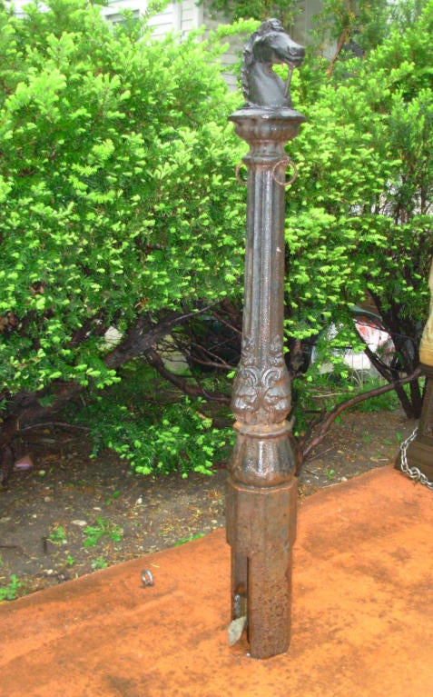 Horse Head Cast Iron Hitching Post At 1stdibs