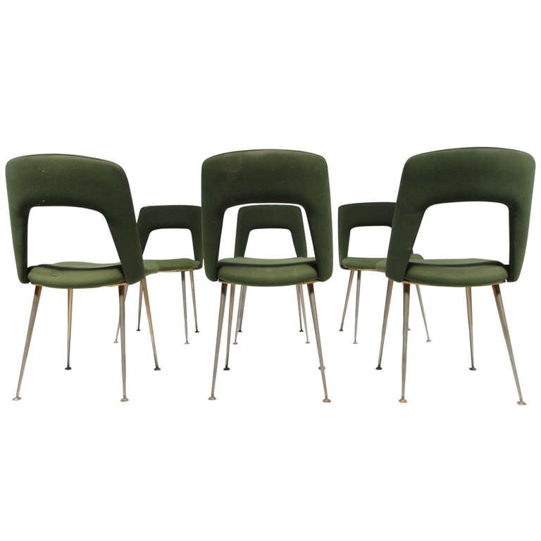 Six As Found French Dining Chairs In The Style Of Arflex