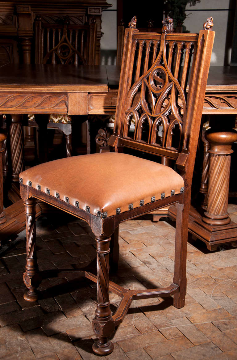 Antique Neogothic Style Dining Room Set Of Carved Walnut