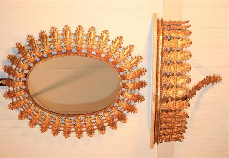 Italian Hollywood Regemcy Gold Gilt Metal Sunburst Wall