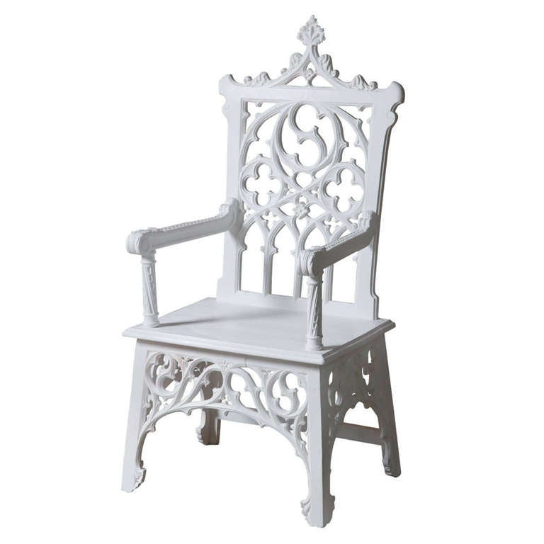 English White Painted Gothic Revival Throne Chair At 1stdibs
