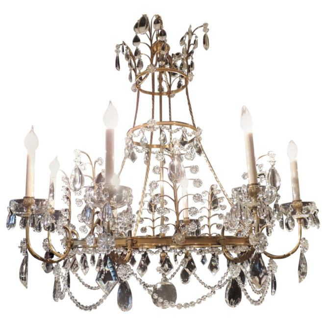 Very Large Fine French Neoclassical Bronze Crystal Eight Light Baltic Chandelier For