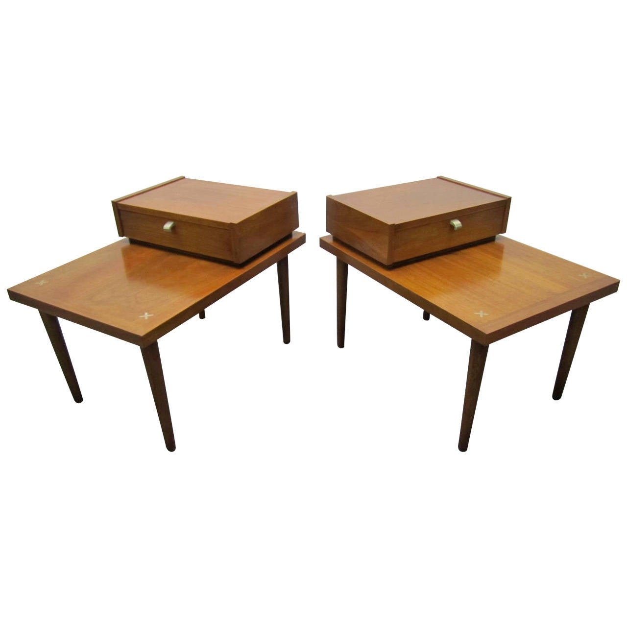 handsome pair of american of martinsville mid century modern end tables