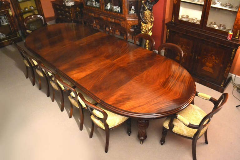 Antique 12ft Victorian Dining Table And 12 Chairs C1860