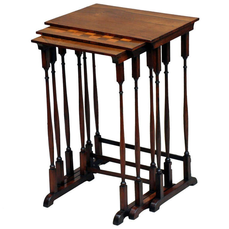 Antique Regency Rosewood Nest Coffee Tables For Sale At