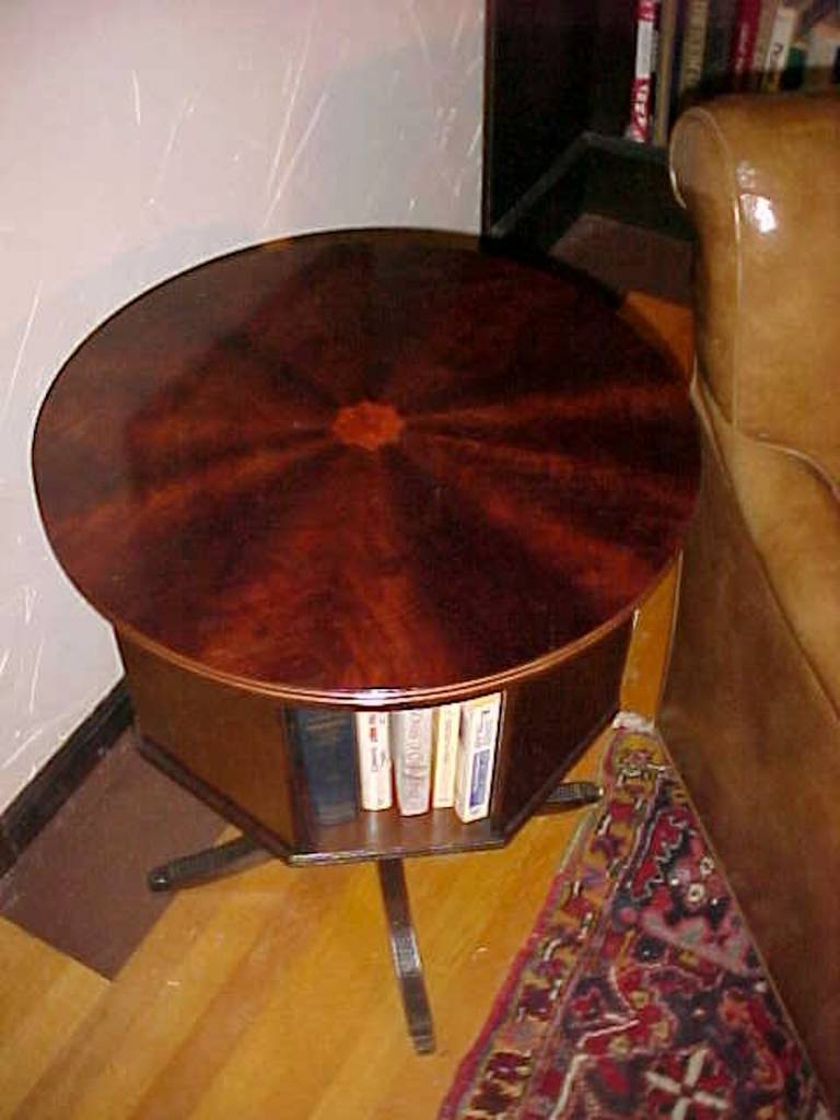 Classic Mahogany Revolving Bookcase With Marquetry Inlay