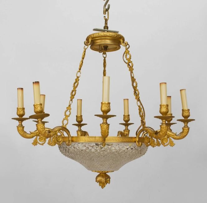 Late Nineth Century French Empire Style Gilt Bronze Chandelier With A Cut Crystal Bowl Supporting