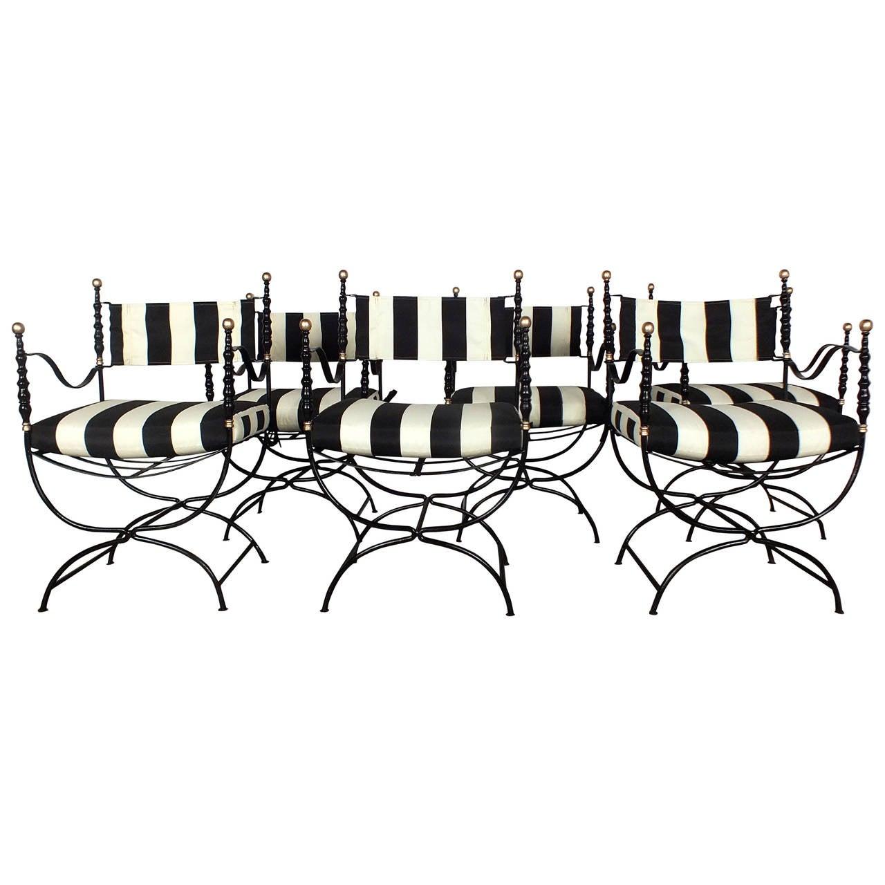 Set Of 6 Mid Century Hollywood Regency Style Dining Patio