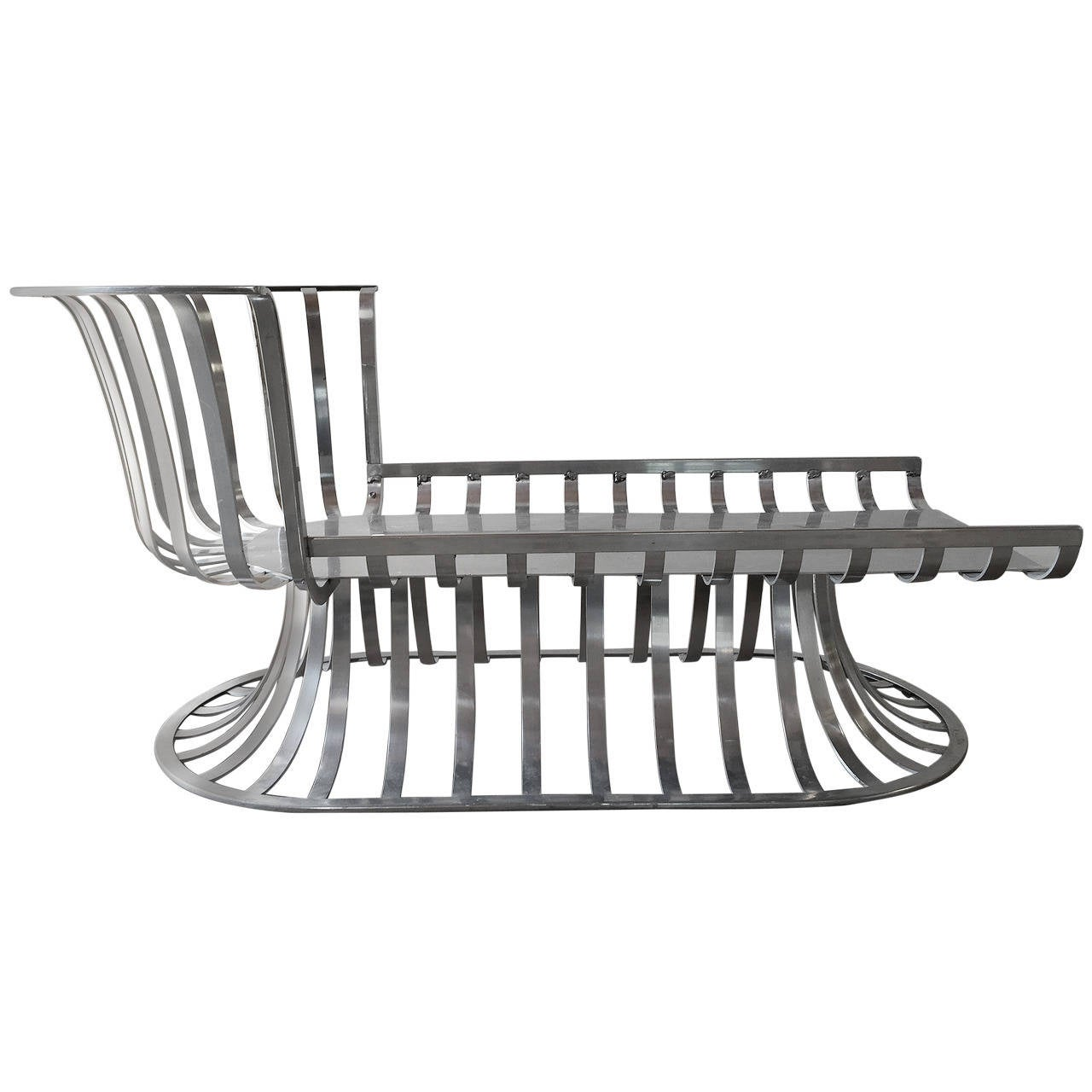 Russell Woodard Deco Style Aluminum Outdoor Patio Chaise
