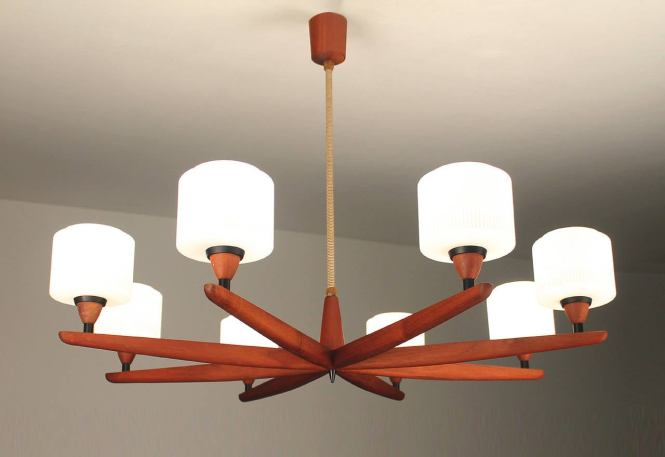 Mid Century Modern Danish Luxus Teak Chandelier Modernist Glass Ceiling Lamp 60s 50s For
