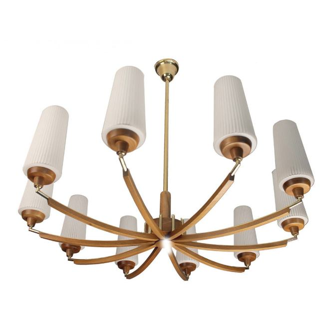 Italian Wood Brass Chandelier Glass Ceiling Fixture Mid Century Modernist 60s For