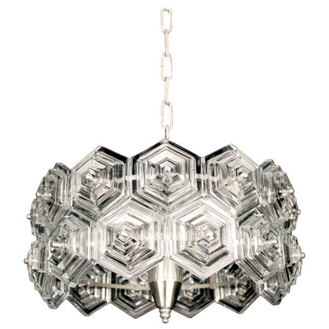 Mid Century Glass Prisms Chandelier Chrome Ceiling Fixture Kinkeldey Era 60s 1