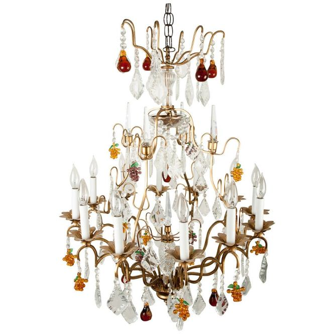 Crystal 12 Light Chandelier With Fruit Shape And Teardrop Crystals 1