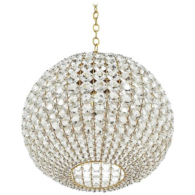 Large Ball Shaped Crystal Chandelier Lamp Austria Circa 1960 1