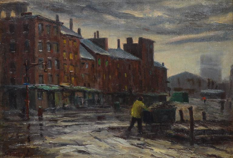 Armand Trivillini   Late Day  Fulton Street Market NYC  Painting at     Late Day  Fulton Street Market NYC   American Impressionist Painting by  Armand Trivillini