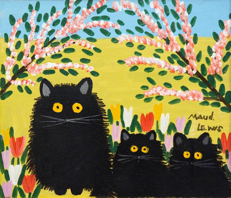 Maud Lewis Black Cats Painting At 1stdibs