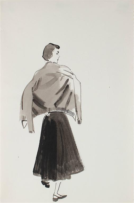 Marjorie Ullberg Mid Century Fashion Illustration In Gouache Circa 1950 For Sale At 1stdibs