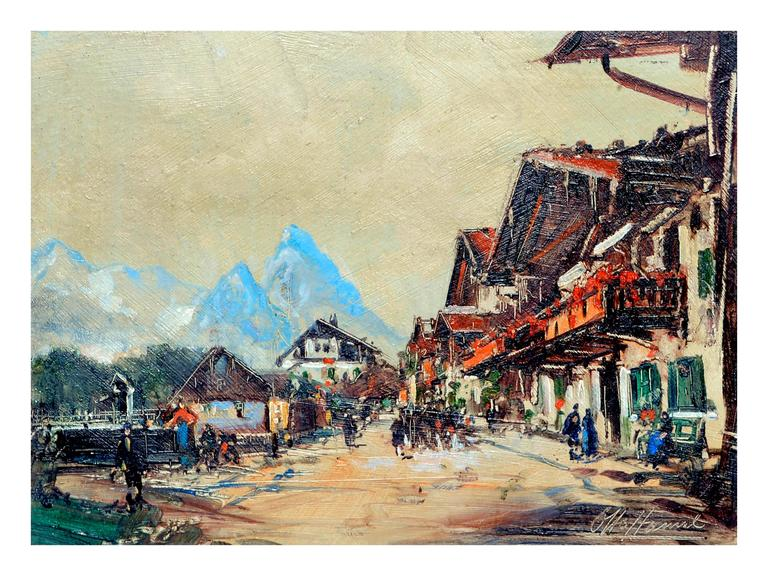 Otto Hamel Village In The Swiss Alps Painting For Sale