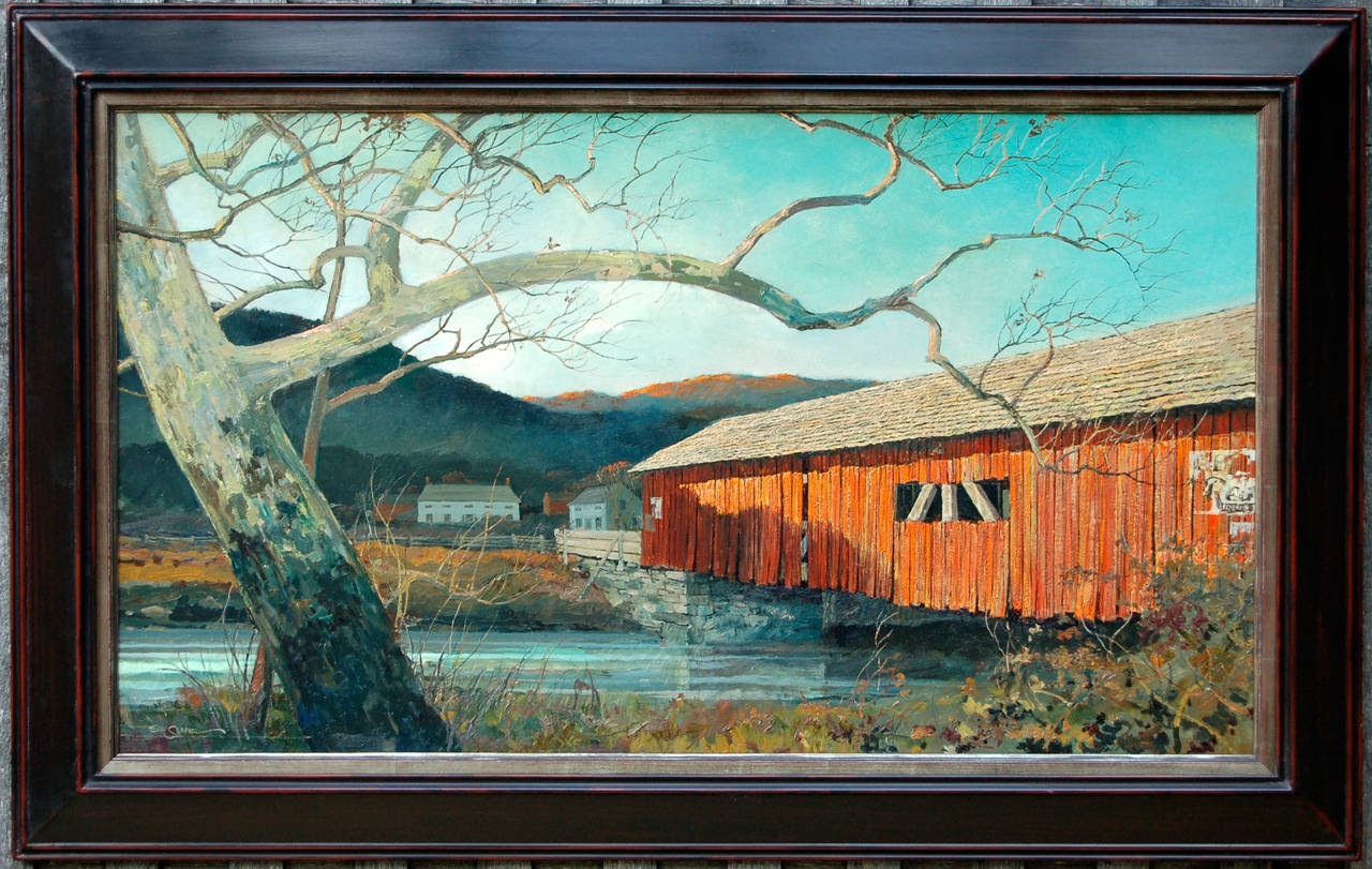 Eric Sloane The Red Bridge Painting At 1stdibs