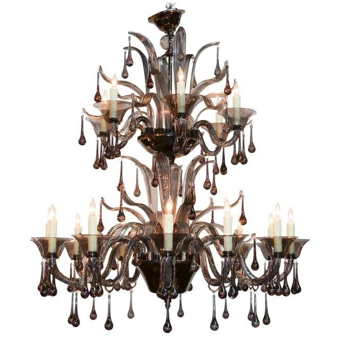 High Style Murano Black Glass Chandelier For