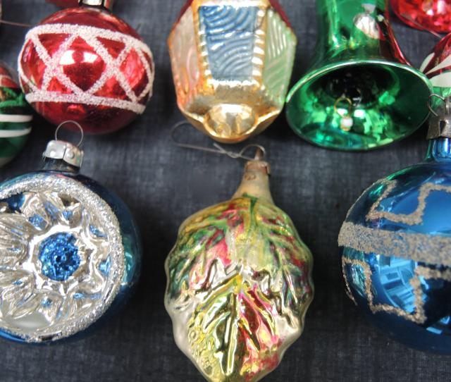 Vintage Collection Of  Glass Christmas Ornaments For Sale