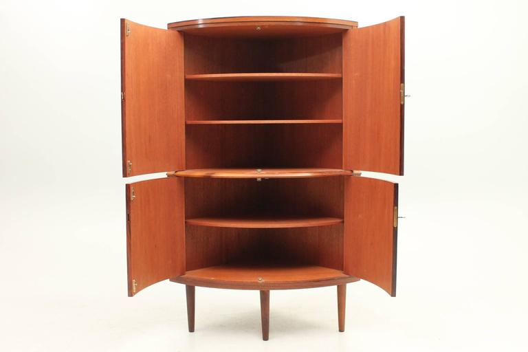 Danish, Mid-Century Modern Rosewood Corner Cabinet, Circa