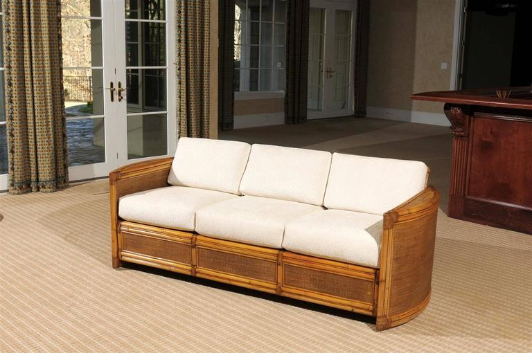 Exceptional Restored Vintage Rattan Sofa at 1stdibs Mid Century Modern Exceptional Restored Vintage Rattan Sofa For Sale