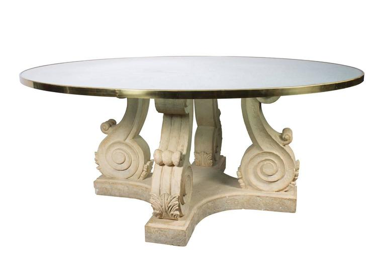 Steve Chase Round Crackled Glass Top Table With Carved