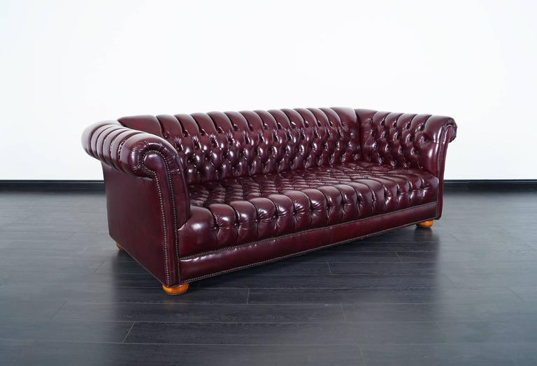 Vintage Burgundy Leather Chesterfield Sofa For Sale at 1stdibs Fabulous vintage burgundy leather Chesterfield sofa