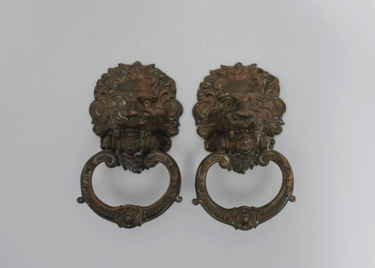 Vintage Pair Of Neoclassical Lion Head Bronze Hardware