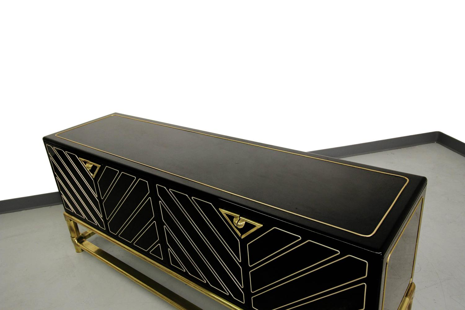 Mid Century Mastercraft Black Lacquer And Brass Credenza