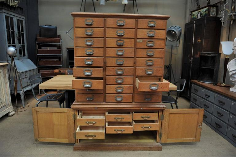 French Oak Notary Luxurious Multi Drawer File Cabinet From