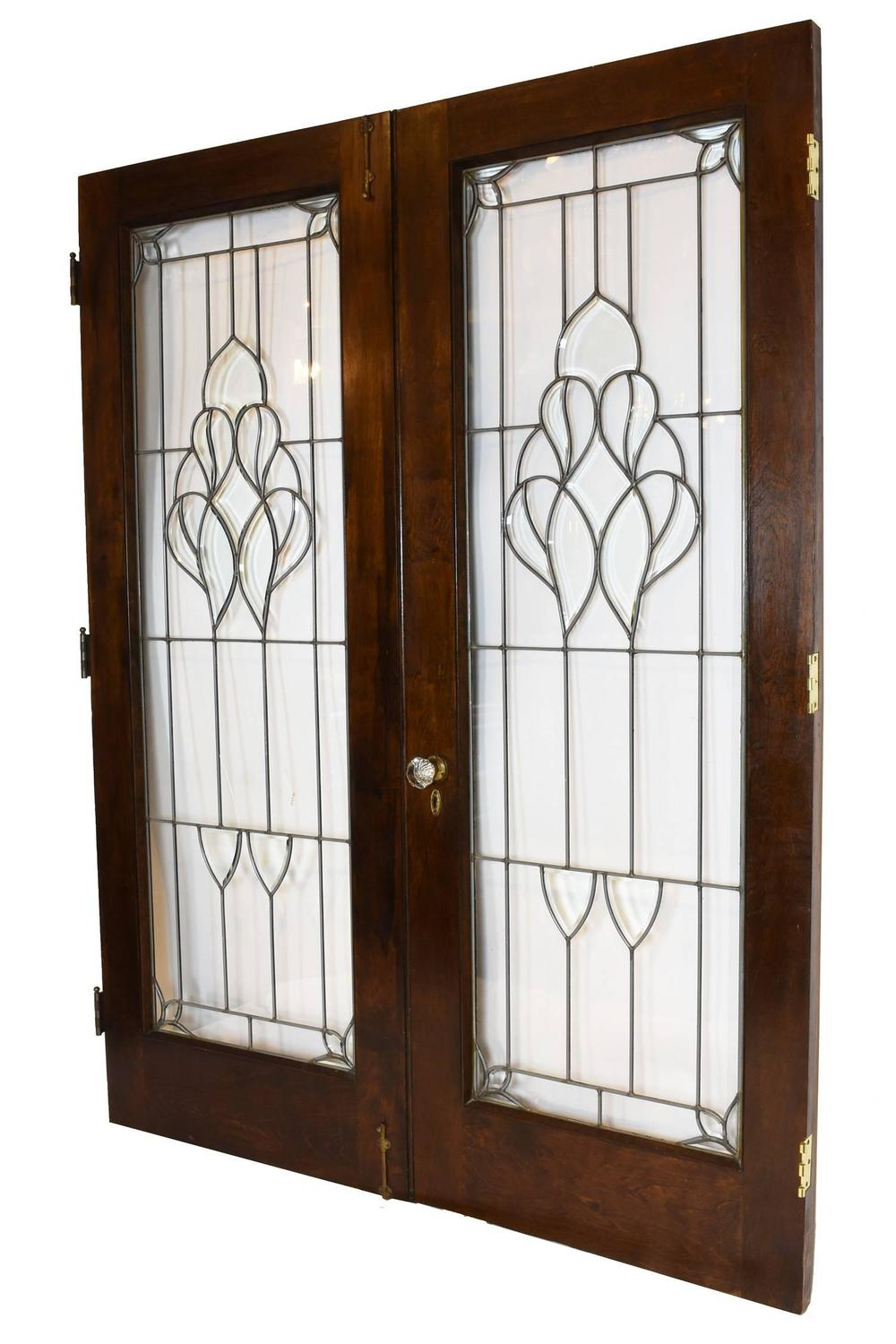 Arts And Crafts Beveled Glass French Door Set For Sale At