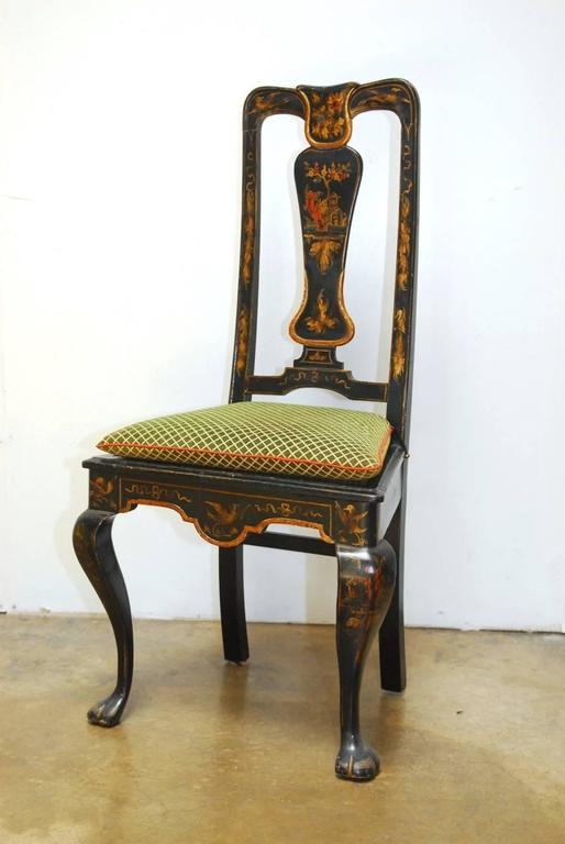 Set Of Four Queen Anne Style Chinoiserie Painted Dining