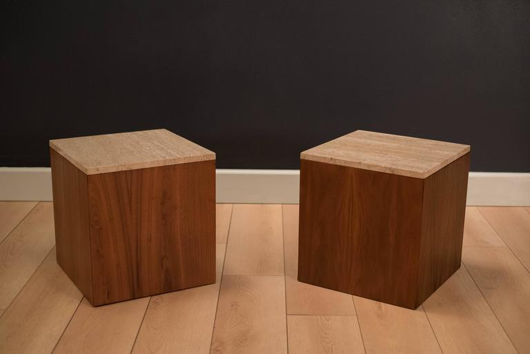 mid century travertine and walnut cube end tables