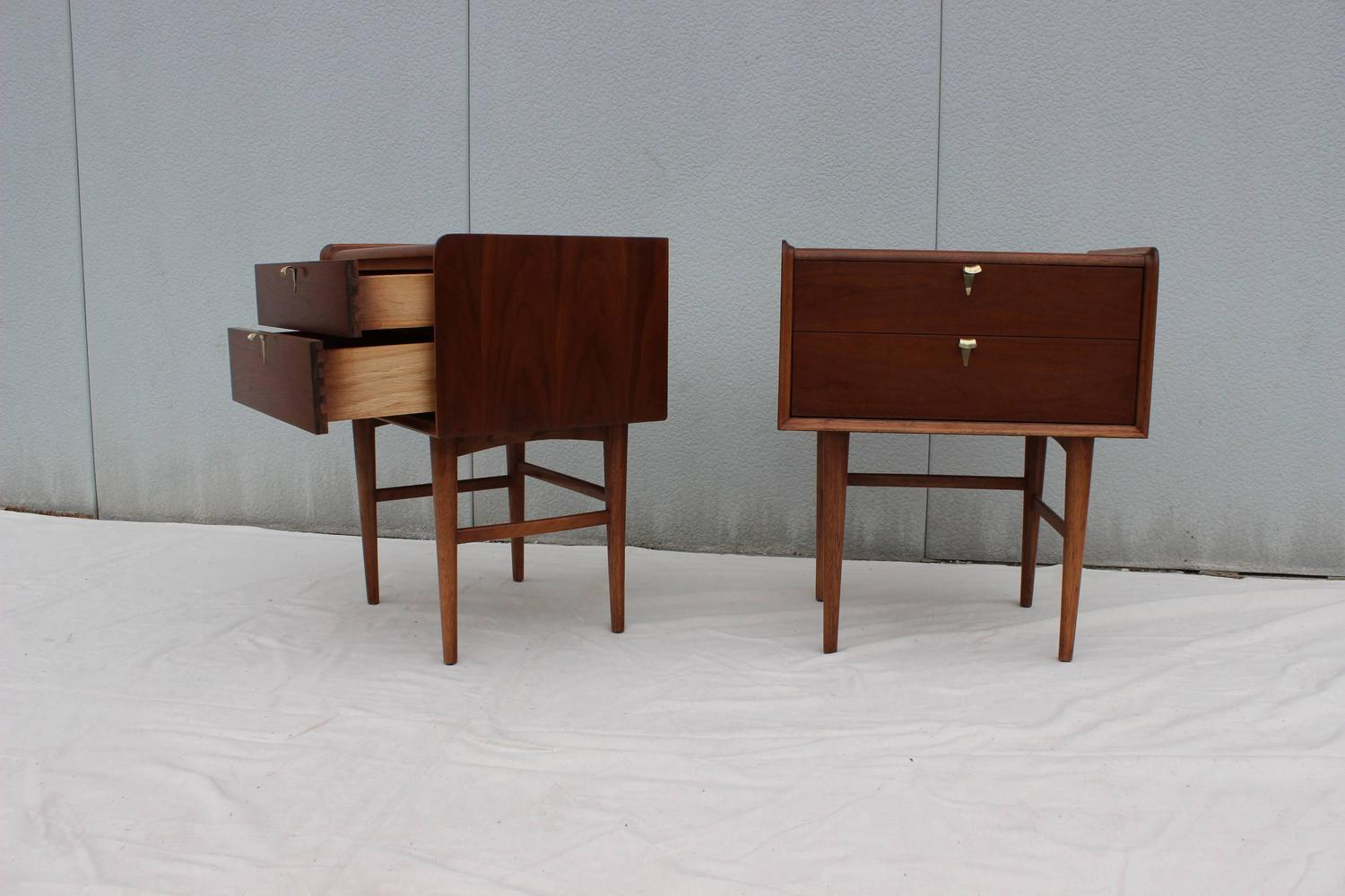 Tall Mid-Century Modern Walnut Two Drawer Night Stands For