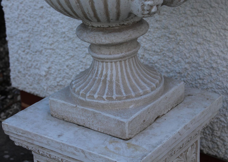 Pair Of Heavy Composite Stone Garden Urns On Pedestals For