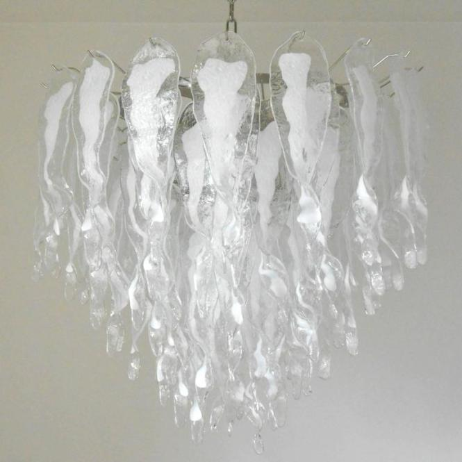 Murano White Stalati Chandelier In The Style Of Mazzega 13 Light Sockets Wired For Italian Glass