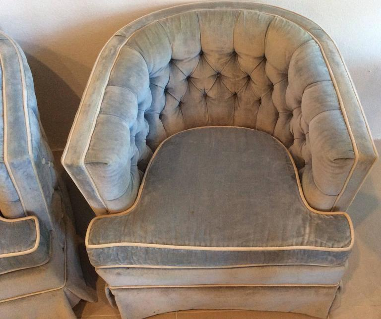 Pair Of Vintage Button Tufted Arm Chairs Barrel Tub Swivel Hollywood Regency For Sale At 1stdibs