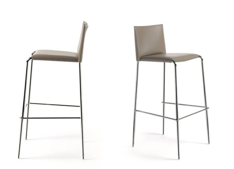 Italian Modern Bar Stool Made Of Leather, Made In Italy