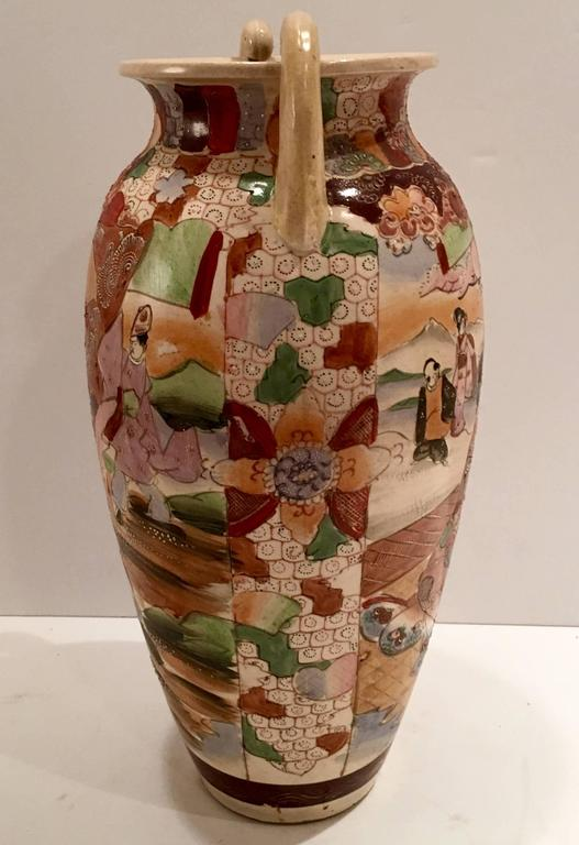 Large Antique Satsuma Moriage Vase