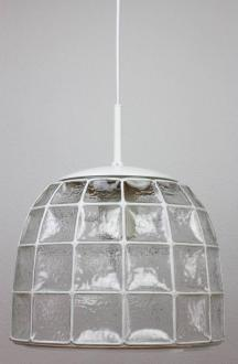One of a Pair 1960s White Iron and Glass Honeycomb Bell Pendant     Beautifully minimal  geometric and simply shaped large hanging ceiling  light fixtures by Glash    tte Limburg