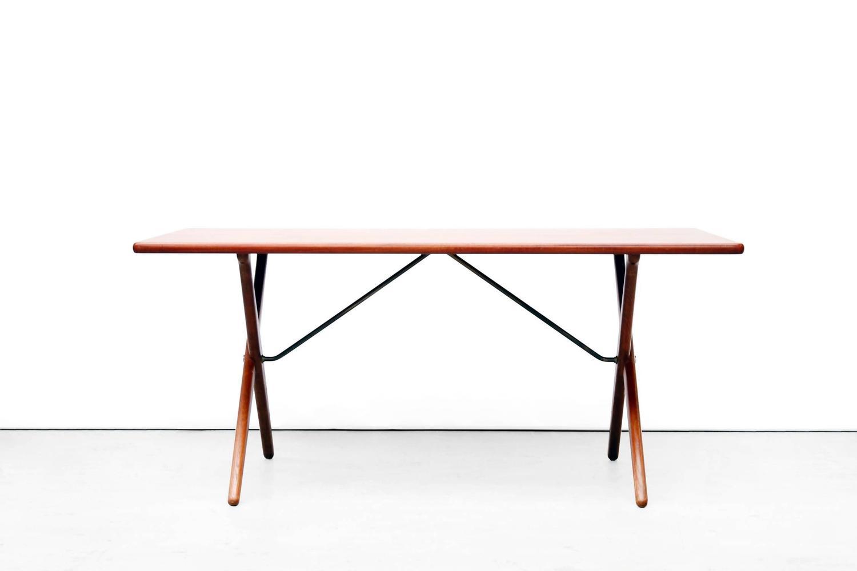 Teak And Oak Cross Leg Dining Table By Hans Wegner For