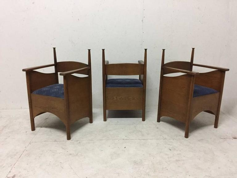 Set Of Three Custom-Made Oak Chairs In The Style Of