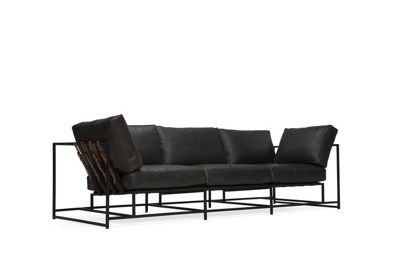 Smoke Leather And Blackened Steel Sofa For Sale At 1stdibs