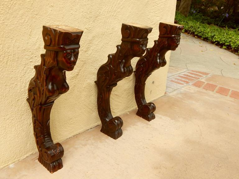 Three Swedish Art Deco Mermaid Shelf Brackets Circa 1920